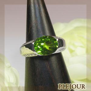 ペリドットリング・k18ゴールド・ダイヤモンド・指輪