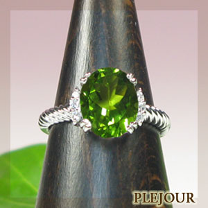 2日20時~ ペリドットリング・k18ゴールド・ダイヤモンド・指輪