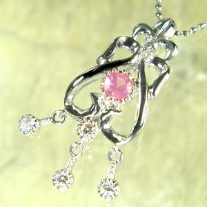 【10%OFF】ピンクスピネルペンダント アンティーク調 K10WGダイヤモンド付き ペンダント【K18 変更可能/】