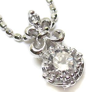 K10・ダイヤモンドネックレス・百合の紋章・一粒・ダイヤモンド・ペンダント