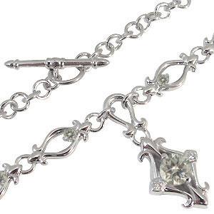 ネックレス・百合の紋章・一粒・4月誕生石・ダイヤモンド・ペンダント・10金