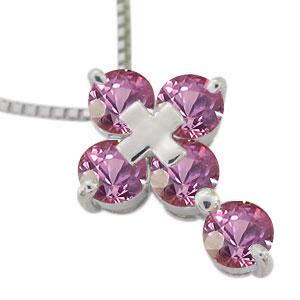 クロス ネックレス 18金 ピンクサファイアネックレス