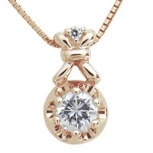 9日20時~ ダイヤモンド ネックレス K10 一粒 王冠 ネックレス