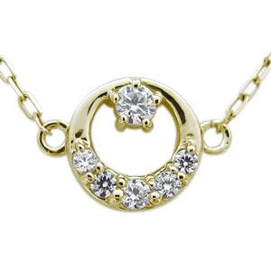 ダイヤモンド ネックレス 月 プチネックレス K18 ペンダント