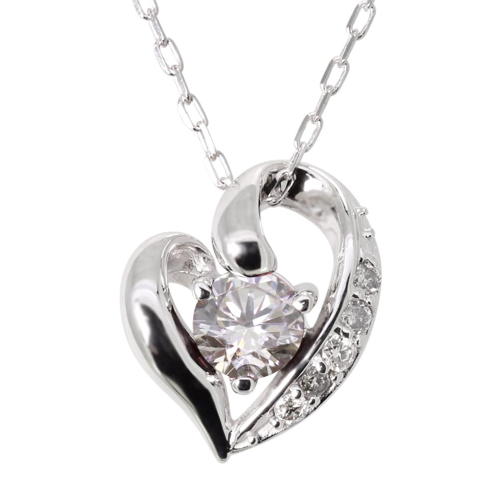 ネックレス ダイヤモンド オープンハート ネックレス プラチナ ネックレス