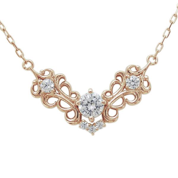 1日限定【10%OFFクーポン&P2倍】 アラベスク アンティーク調 ネックレス ダイヤモンド ネックレス 18金