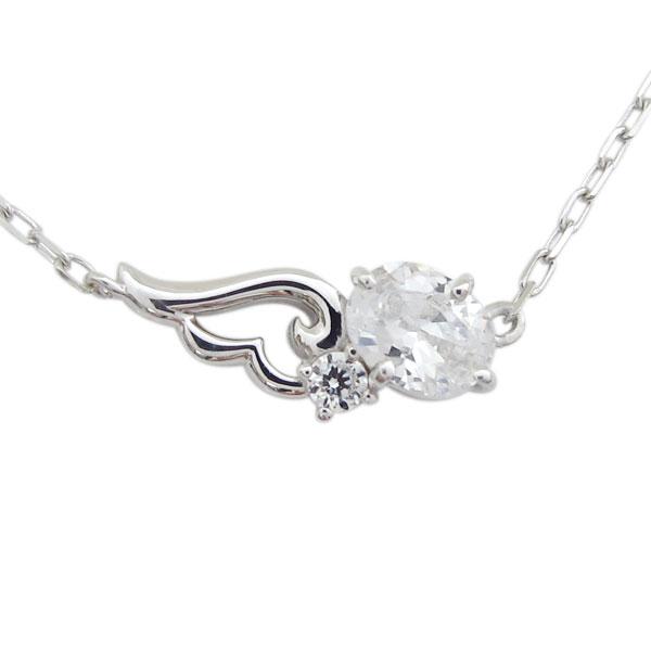 9日20時~ 天使の羽 ネックレス フェザー キュービックジルコニア ネックレス