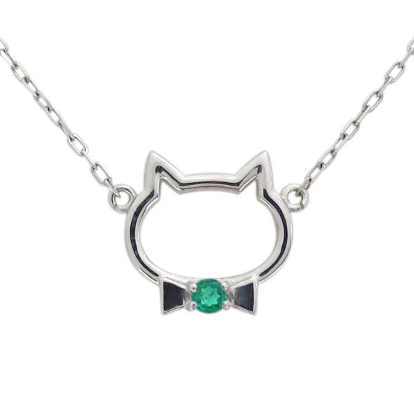 【P5~10倍】29日~ プラチナ エメラルド ネックレス キャット 猫 ペンダント