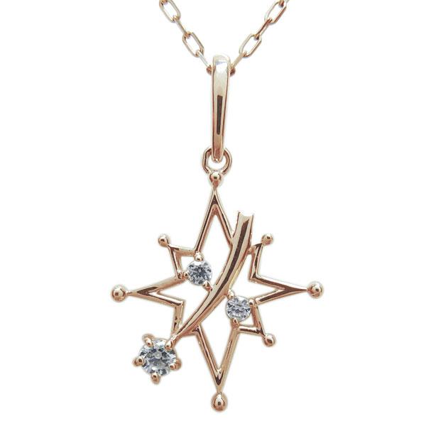 【10%OFFクーポン】5日23:59迄 星 宇宙 ネックレス ダイヤモンド 流れ星 ペンダント 10金