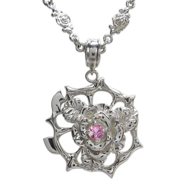 プラチナ メンズネックレス 薔薇ペンダント ピンクサファイアネックレス