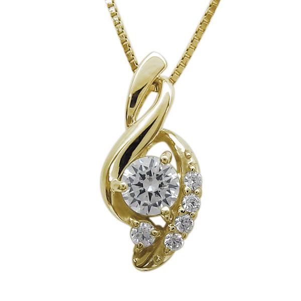 ネックレス ダイヤモンドネックレス K18 一粒 エレガント ペンダント