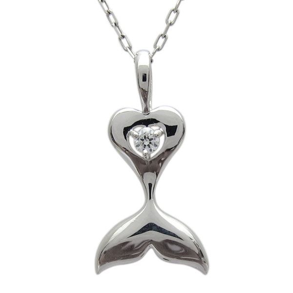 9日1:59迄 プラチナ イルカの尻尾 ネックレス ダイヤモンド ドルフィンペンダント