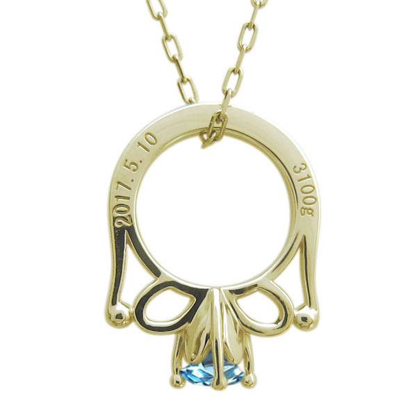 【10%OFF】4日20時~ ブルートパーズ 赤ちゃん ベビーリング メモリアル ネックレス 18金 指輪
