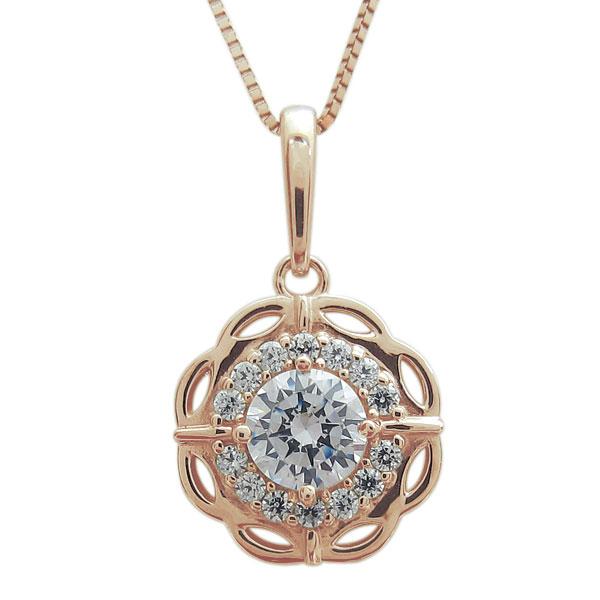 26日1:59迄 鑑定書付ネックレス ダイヤモンド ネックレス 花 VVS(0.50ct) K18