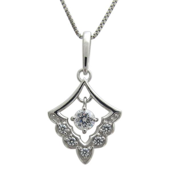 プラチナ ダイヤモンド レディースネックレス レース ペンダント 母の日 プレゼント