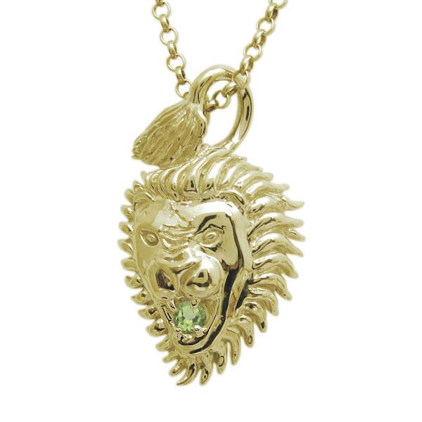 送料無料 ライオンモチーフ メンズネックレス ペリドット 公式 K18 ライオン 在庫限り ペンダント 18金 百獣の王