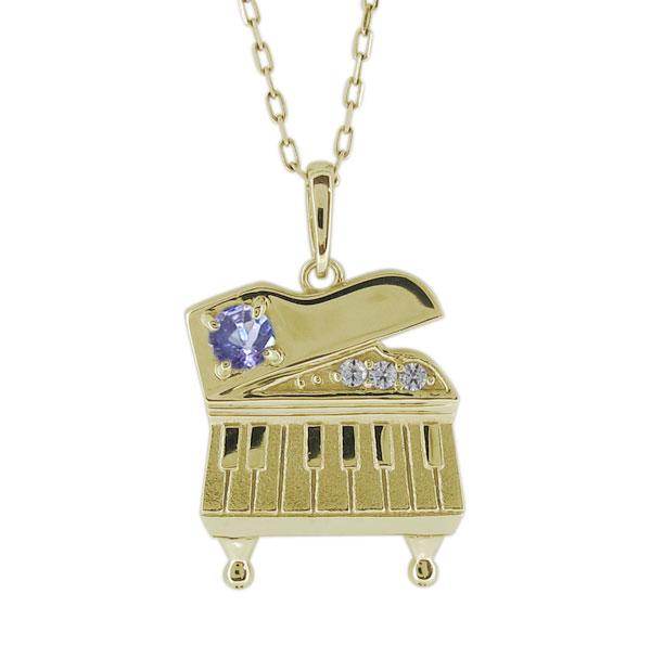 ピアノモチーフ ネックレス 12月誕生石 レディースペンダント 18金 母の日 プレゼント
