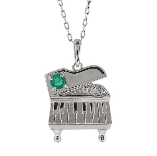 26日1:59迄 エメラルド ピアノ ネックレス レディース プラチナ ペンダント 鍵盤 母の日 プレゼント