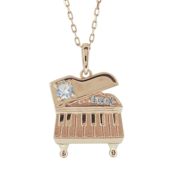 9/11 1:59迄ピアノ ネックレス ロイヤルブルームーンストーン ペンダント レディース 10金 鍵盤