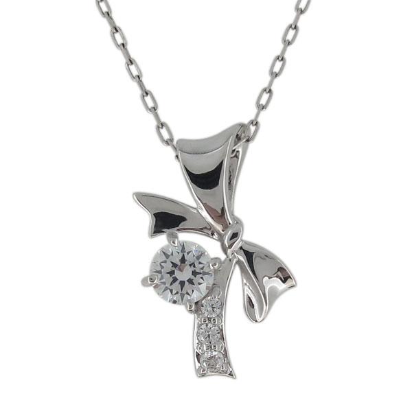 VS(0.25ct) 鑑定書付 リボン ネックレス ダイヤモンド プラチナ