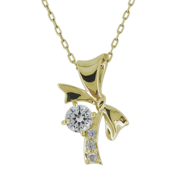 【10%OFFクーポン】5日23:59迄 鑑定書付ネックレス ダイヤモンド SIクラス リボンネックレス 18金