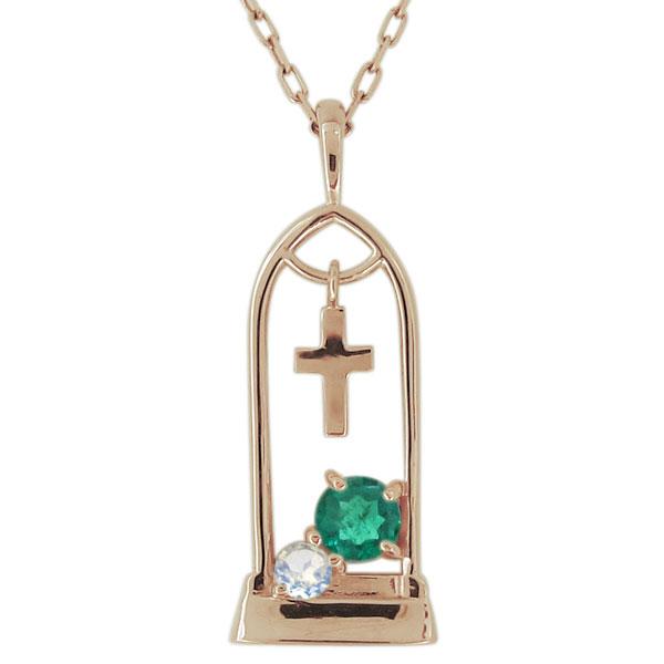 ネックレス レディース 誕生石 チャペルモチーフ クロス 10金 ペンダント 母の日 プレゼント