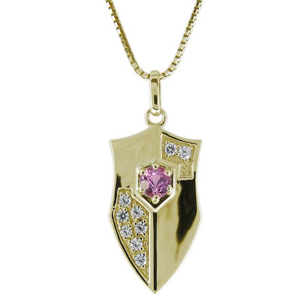 ネックレス・メンズ・ピンクサファイア・9月誕生石・10金・ペンダント・盾