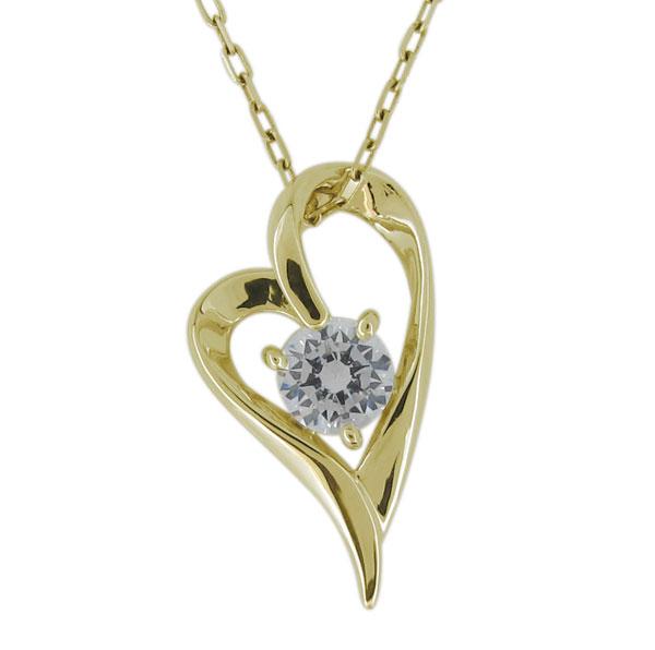 ダイヤモンド ネックレス オープンハート レディース 18金 ハート ペンダント 母の日 プレゼント