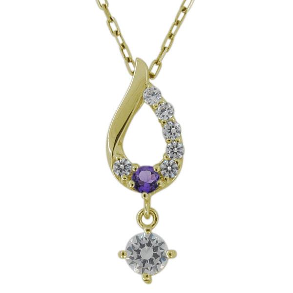 ネックレス・レディース・ダイヤモンド・4月誕生石・しずく・雫・10金 母の日 プレゼント