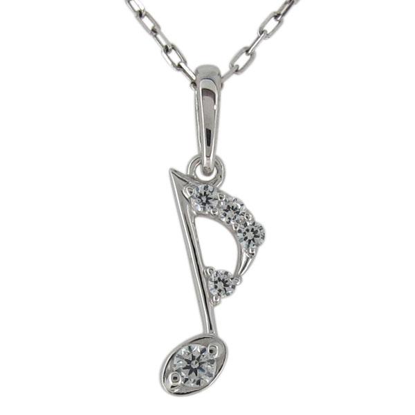 レディースネックレス ダイヤモンド 音符 プラチナ 八分音符 ペンダント