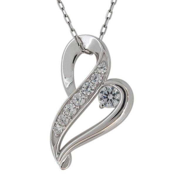 ダイヤモンド・ネックレス・ハート・レディース・プラチナ・ペンダント・4月誕生石 母の日 プレゼント
