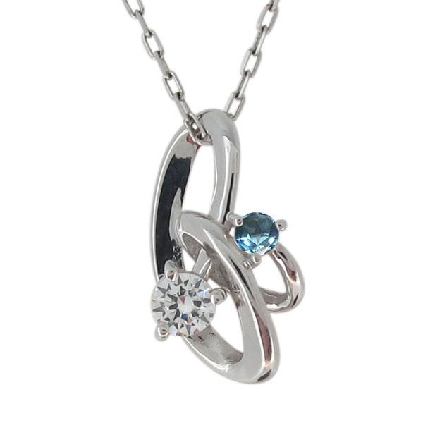 レディース・ネックレス・プラチナ・シンプル・上品・ダイヤモンド・4月誕生石 母の日 プレゼント