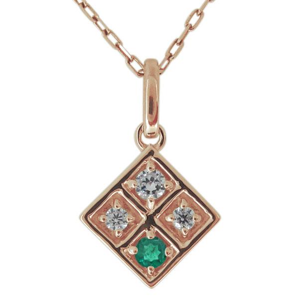 ネックレス レディース 18金 18k ダイヤモンド スクエア 四角 ペンダント シンプル 母の日 プレゼント