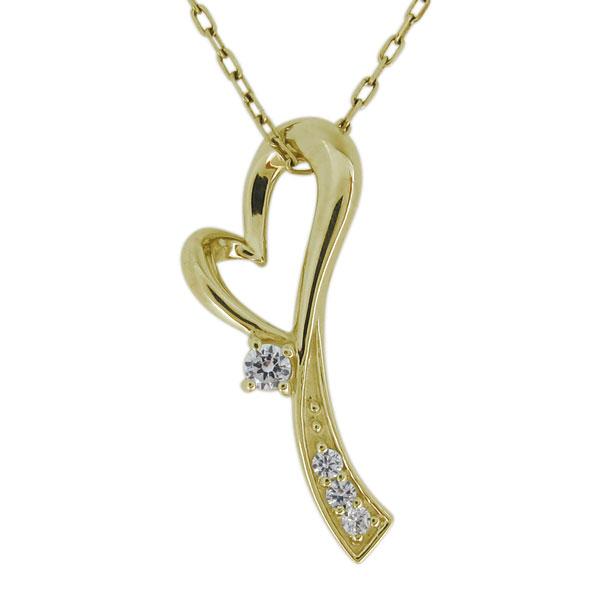 9/11 1:59迄ネックレス レディース ハート 4月誕生石 ダイヤモンド 10金 オープンハート ペンダント