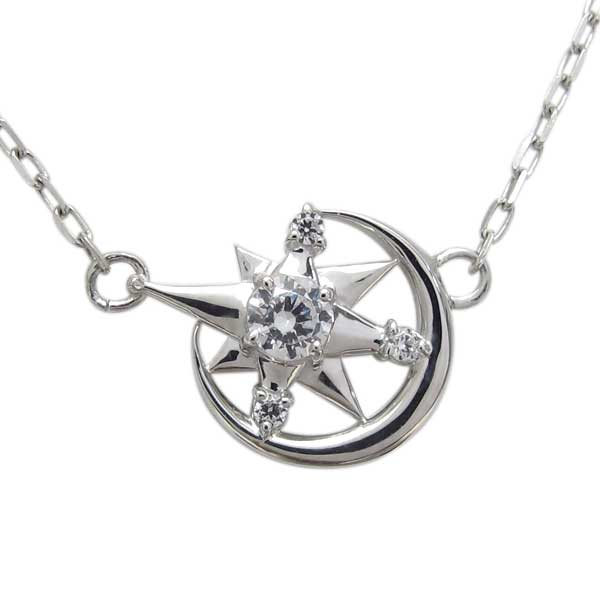 ネックレス 星 月 プラチナ 天然石 ダイヤモンド ペンダント レディース オシャレ クリスマス プレゼント