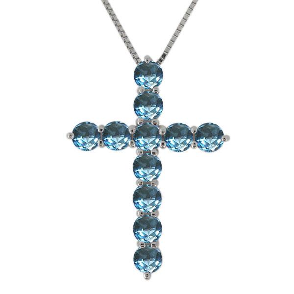 9日20時~ クロス ネックレス プラチナ レディース ブルートパーズ 11月誕生石 十字架 ペンダント 母の日 プレゼント