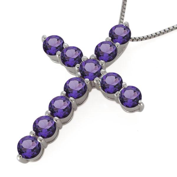 クロス ネックレス プラチナ レディース アメジスト 2月誕生石 十字架 ペンダント 母の日 プレゼントLRj4A5