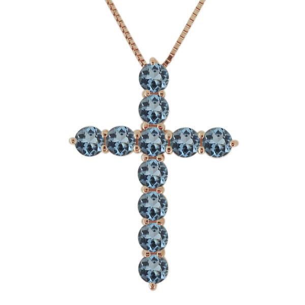 ネックレス アクアマリンサンタマリア 18金 クロス 十字架 レディース カジュアル ペンダント 母の日 プレゼント