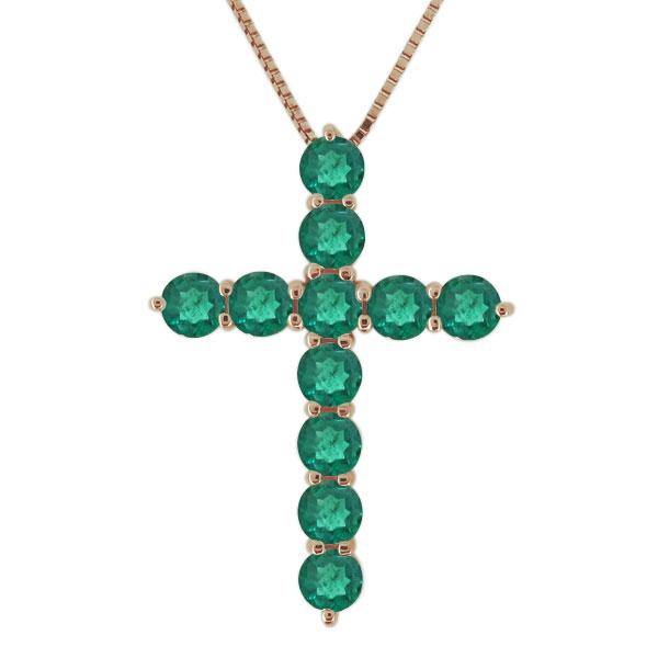 ネックレス エメラルド 18金 クロス 十字架 レディース カジュアル ペンダント 母の日 プレゼント