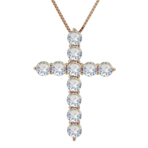 23日20時~ ネックレス ロイヤルブルームーンストーン 18金 クロス 十字架 レディース カジュアル ペンダント 母の日 プレゼント