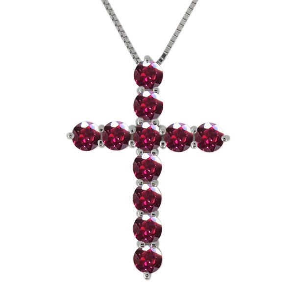 23日20時~ クロス ネックレス プラチナ レディース ルビー 7月誕生石 十字架 ペンダント 母の日 プレゼント