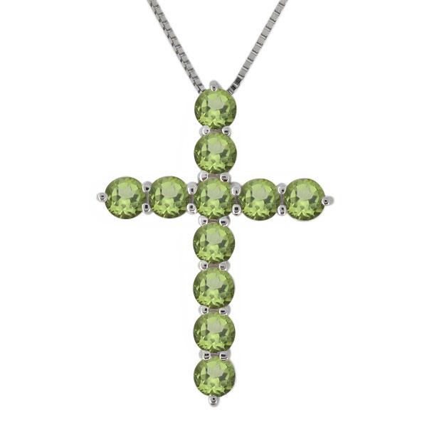 9日20時~ クロス ネックレス プラチナ レディース ペリドット 8月誕生石 十字架 ペンダント 母の日 プレゼント