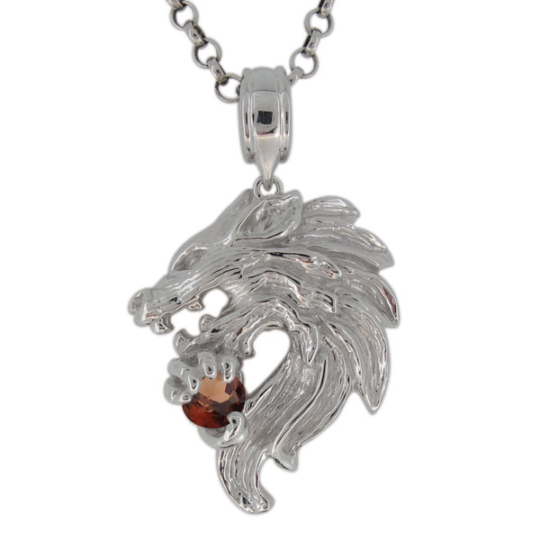 プラチナ ネックレス メンズ ガーネット 1月誕生石 狼モチーフ オオカミ