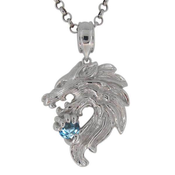 3/20限定AM10時~ プラチナ ネックレス メンズ ブルートパーズ 11月誕生石 狼モチーフ オオカミ