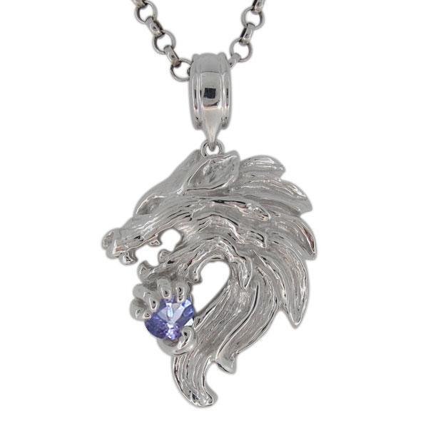 プラチナ ネックレス メンズ タンザナイト 12月誕生石 狼モチーフ オオカミOPilZwuTkX
