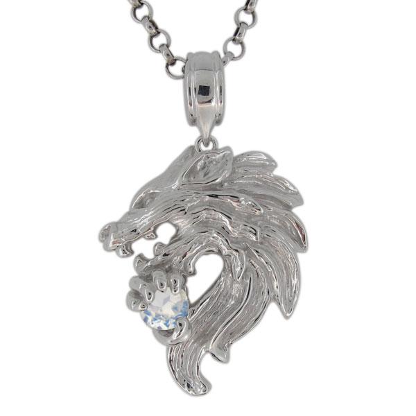 プラチナ ネックレス メンズ ロイヤルブルームーンストーン 6月誕生石 狼モチーフ オオカミ