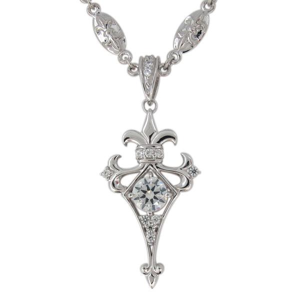 メンズ シルバー ネックレス クロス 天然石 ダイヤモンド ペンダント 百合の紋章