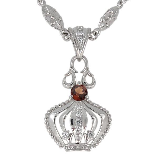 プラチナ ガーネット ネックレス メンズ 王冠モチーフ 1月誕生石 ペンダント crown