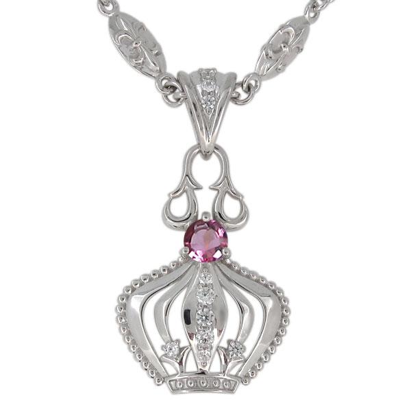 9日1:59迄 プラチナ ピンクトルマリン ネックレス メンズ 王冠モチーフ 10月誕生石 ペンダント crown