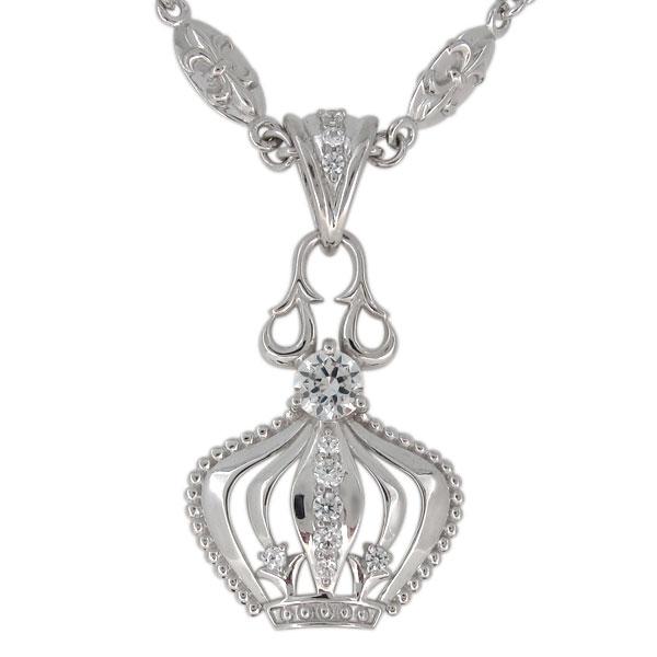 プラチナ ダイヤモンド ネックレス メンズ 王冠モチーフ 4月誕生石 ペンダント crown